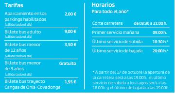 tarifas y horarios del autobús de covadonga