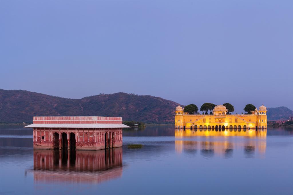que ver en jaipur, jal mahal o palacio del agua foto del atardecer